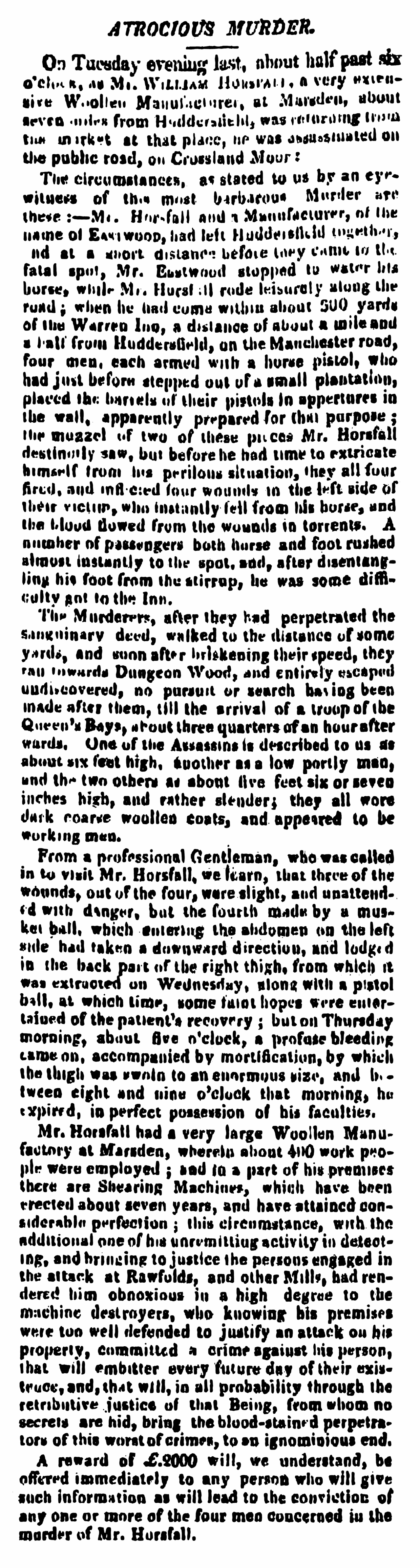 Murder of William Horsfall - Leeds Mercury 02 May 1812