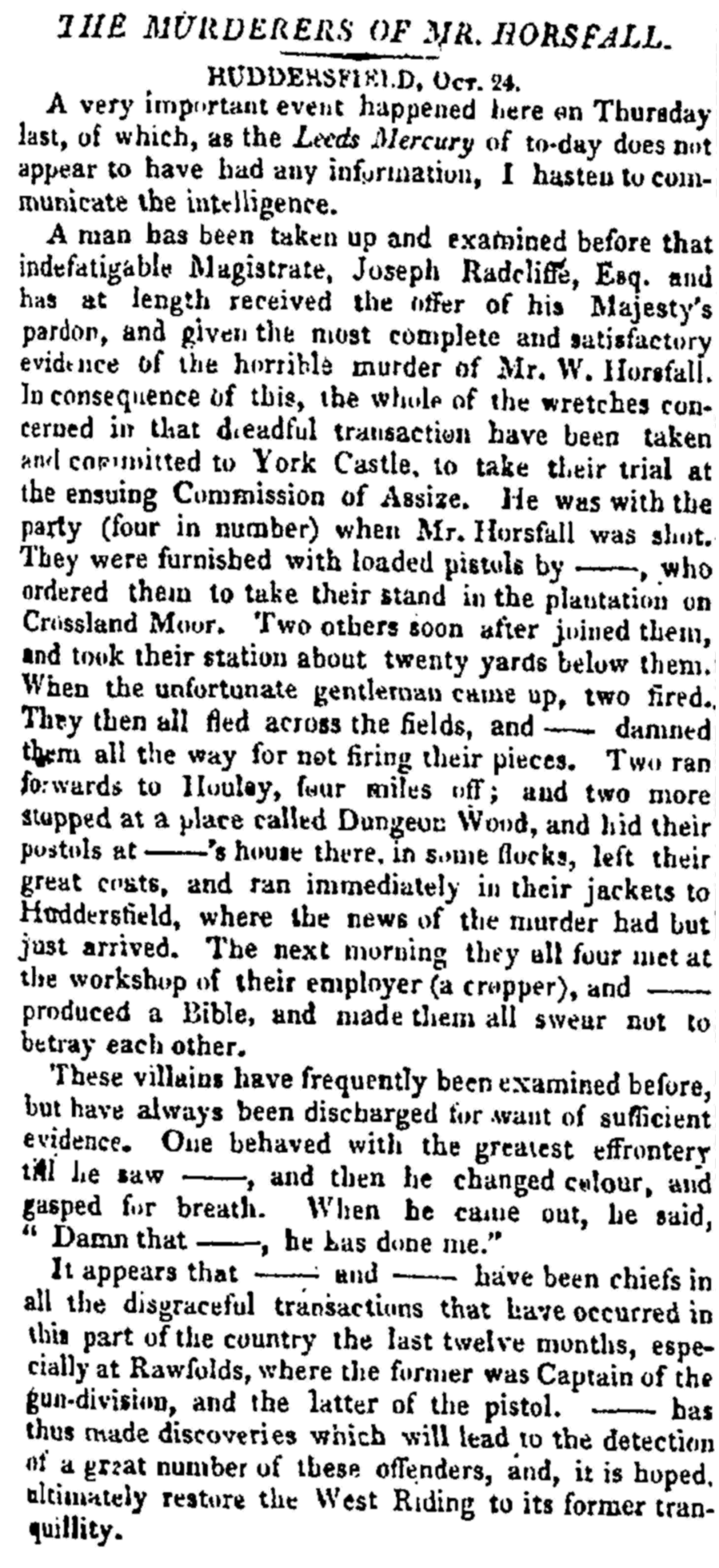 The Times (30.Oct.1812) - The Murderers of Mr. Horsfall