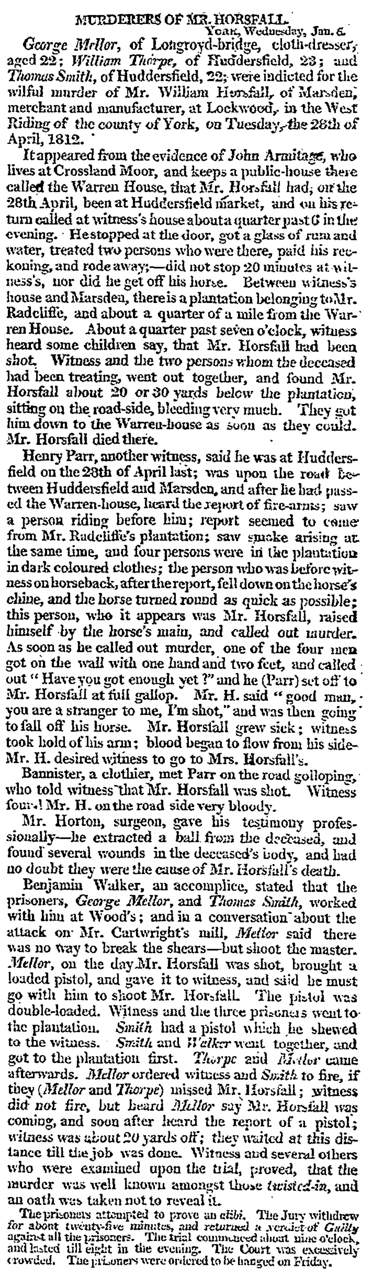 The Times (09.Jan.1813) - Murderers of Mr. Horsfall