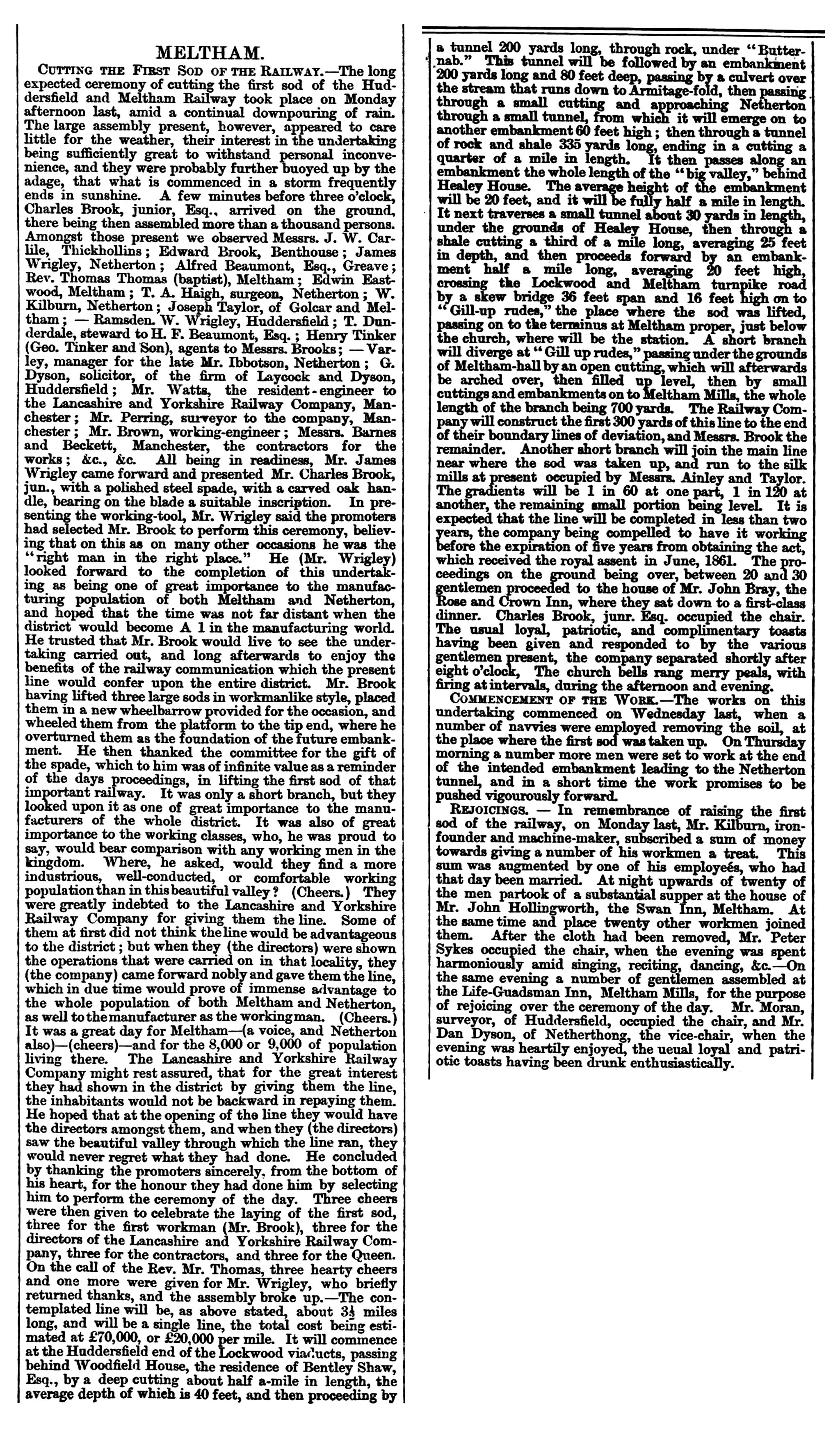 1864.04.09 Meltham, Cutting the First Sod of the Railway - Huddersfield Chronicle