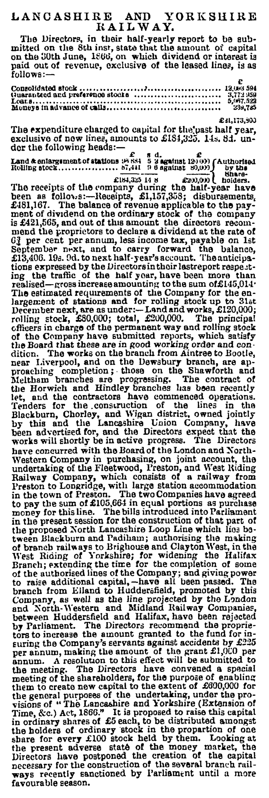 Lancashire and Yorkshire Railway - Manchester Guardian (1828-1900) 02 Aug 1866