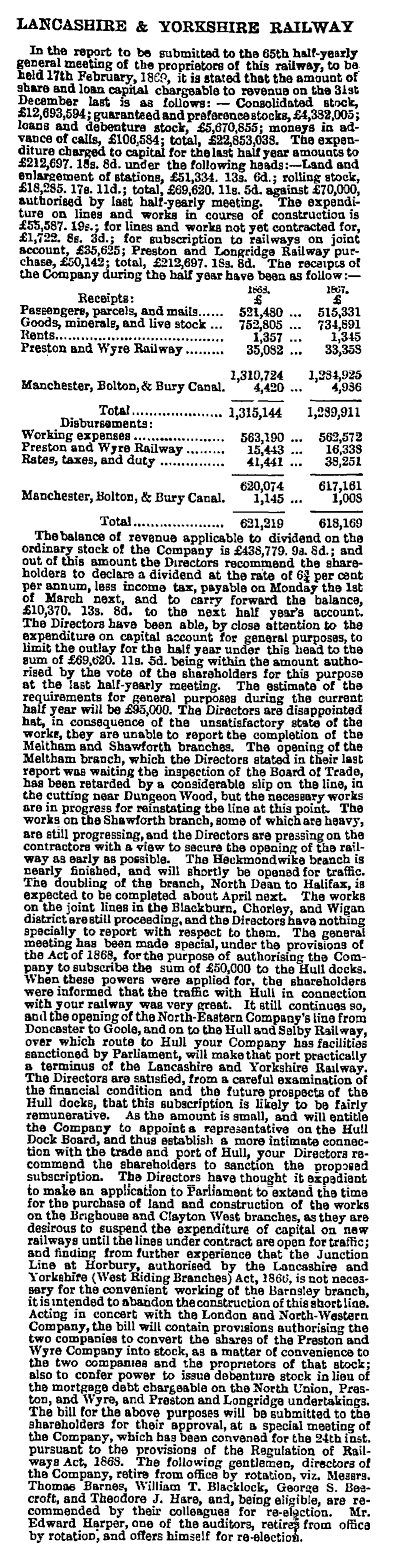 Lancashire and Yorkshire Railway - Manchester Guardian (1828-1900) 11 Feb 1869