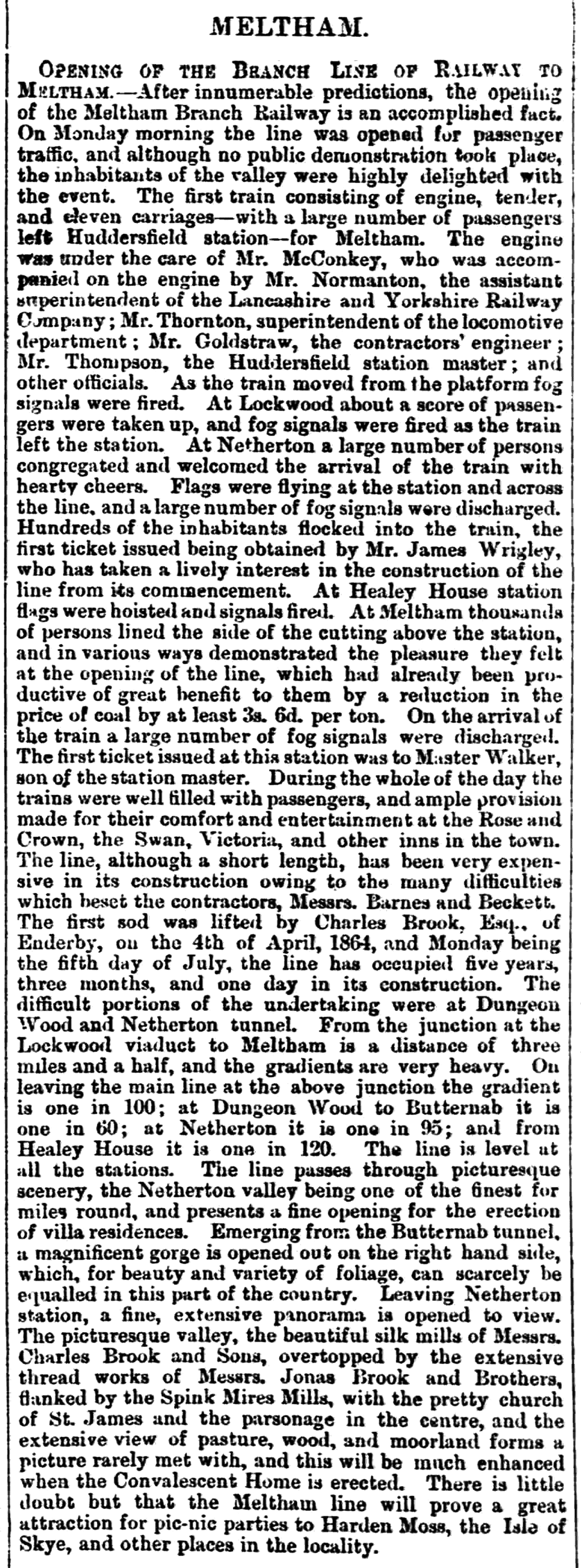 1869.07.10 Opening of the Branch Line of Railway to Meltham - Huddersfield Chronicle 10 July 1869