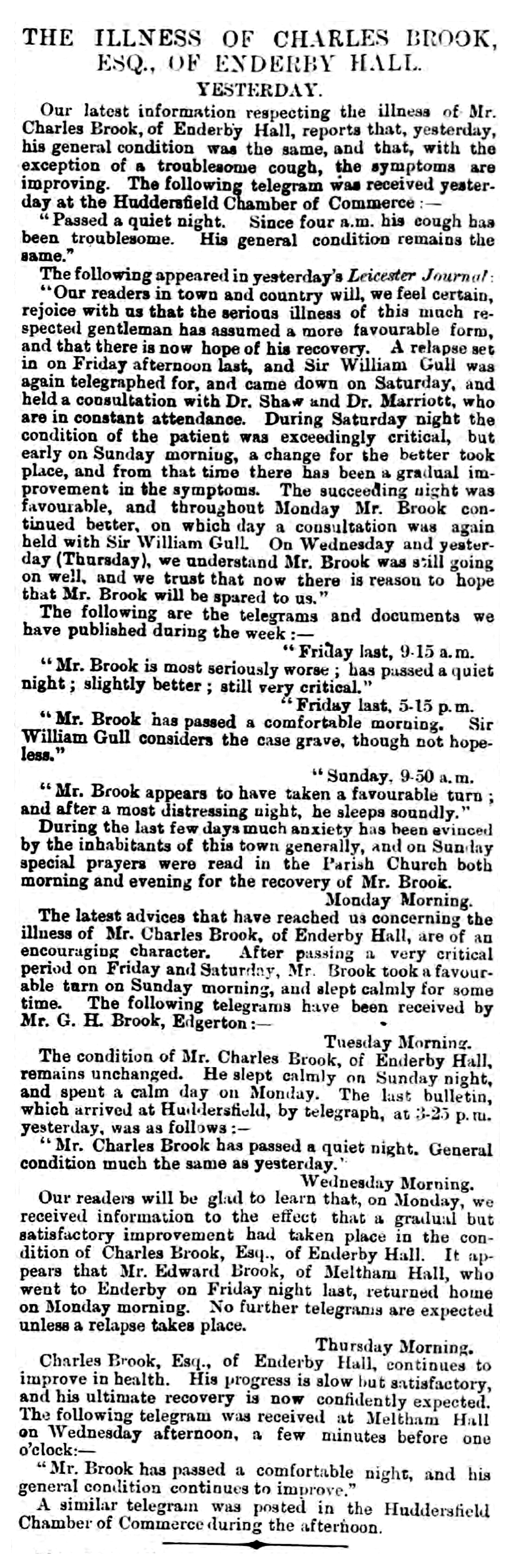 The Illness of Charles Brook - Huddersfield Chronicle 15 June 1872 BL-0000167-18720615-048