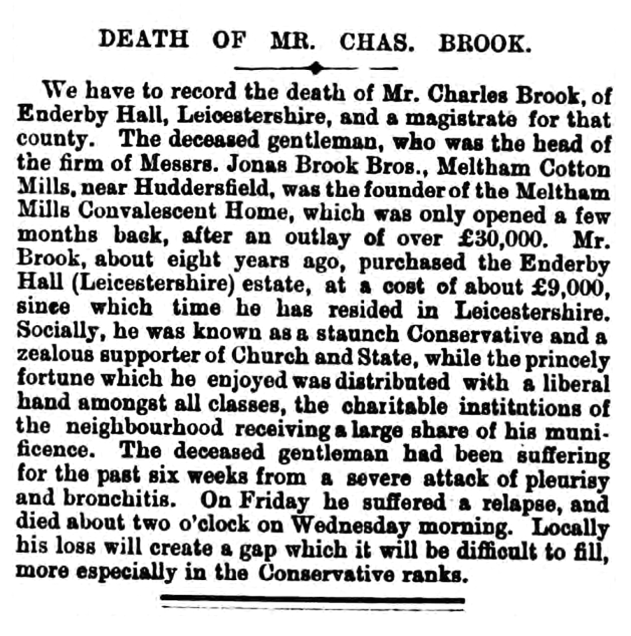 Death of Charles Brook - Grantham Journal 13 July 1872 BL-0000400-18720713-057
