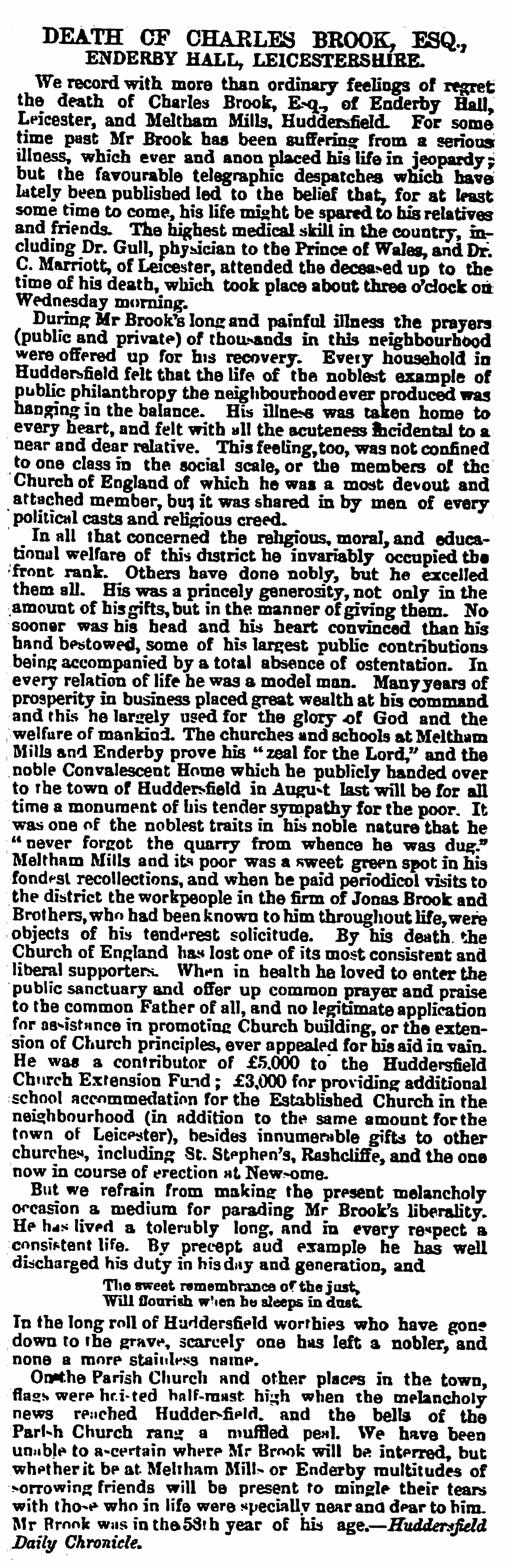 Death of Charles Brook - Leamington Spa Courier 13 July 1872 BL-0000249-18720713-012