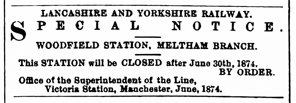 1874.06.20 Closure of Woodfield Station - Huddersfield Chronicle 20 June 1874