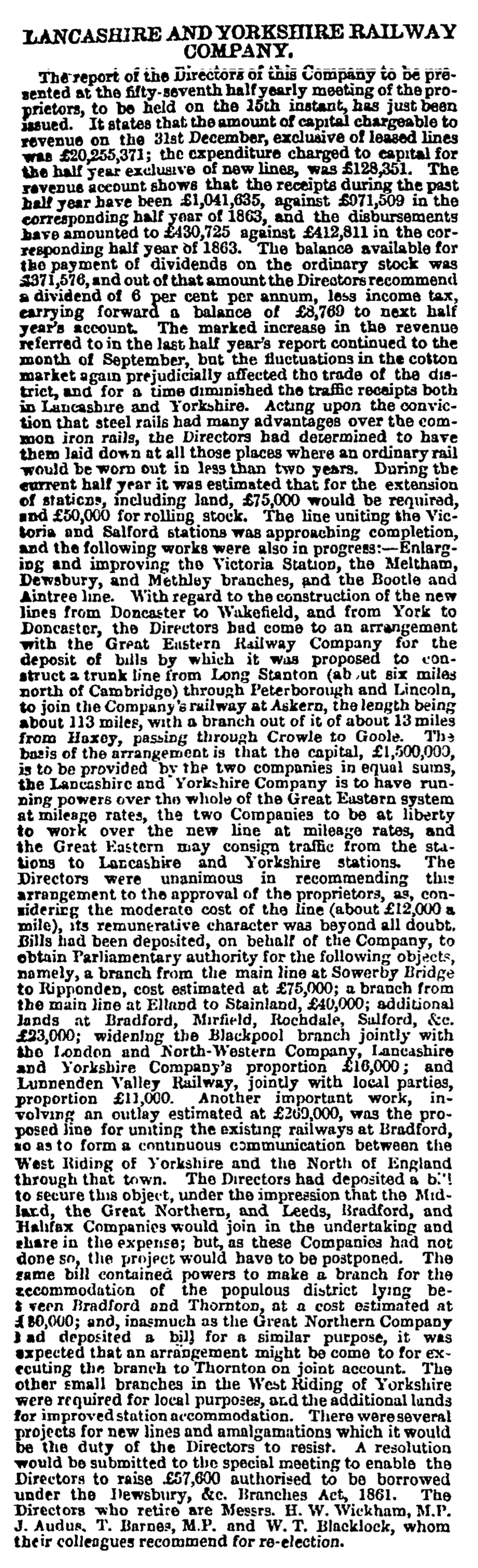 Lancashire and Yorkshire Railway Company - Manchester Guardian (1828-1900) 09 Feb 1865