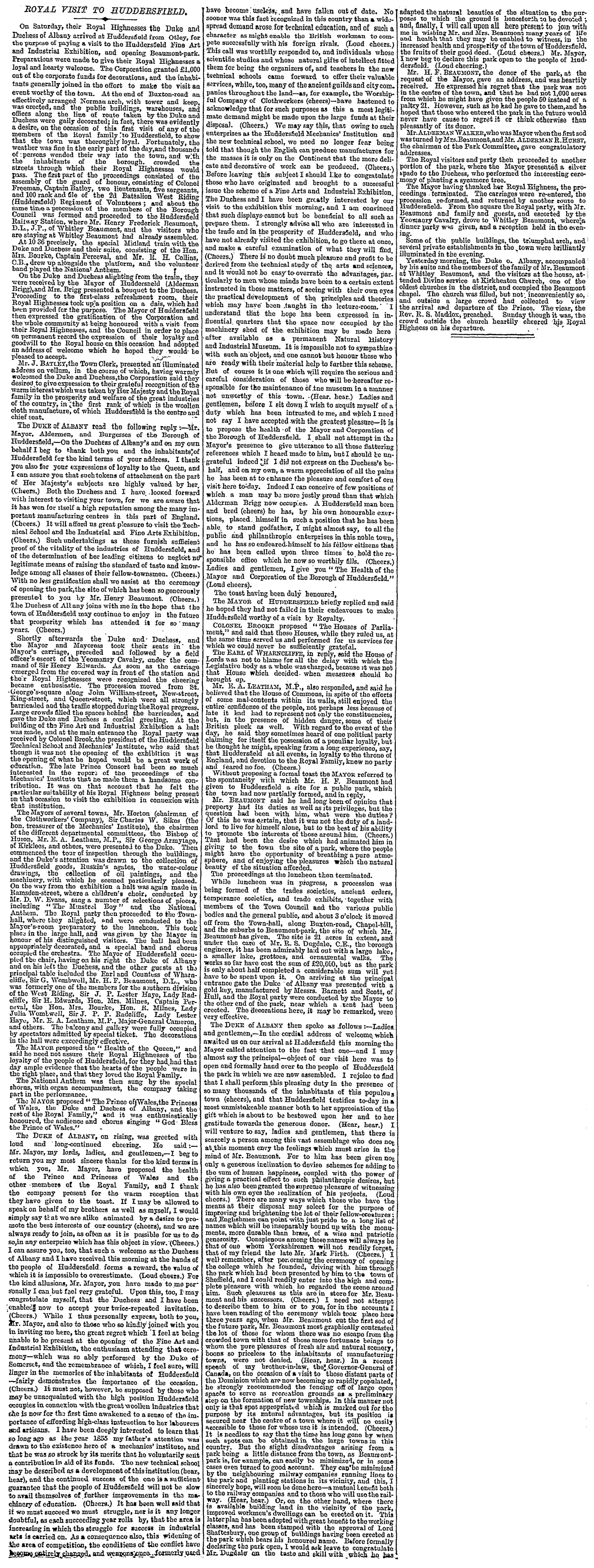 The Times (15.Oct.1883) - Royal Visit To Huddersfield