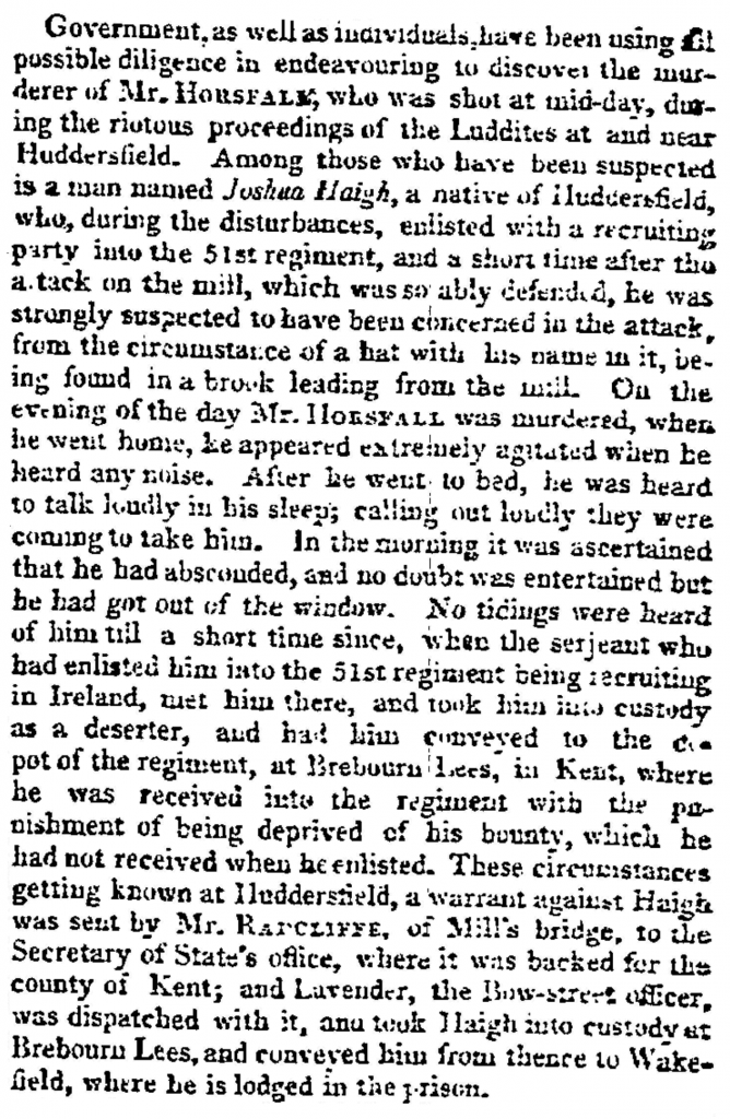 The Times (26.Oct.1812) - Murder of Mr. Horsfall