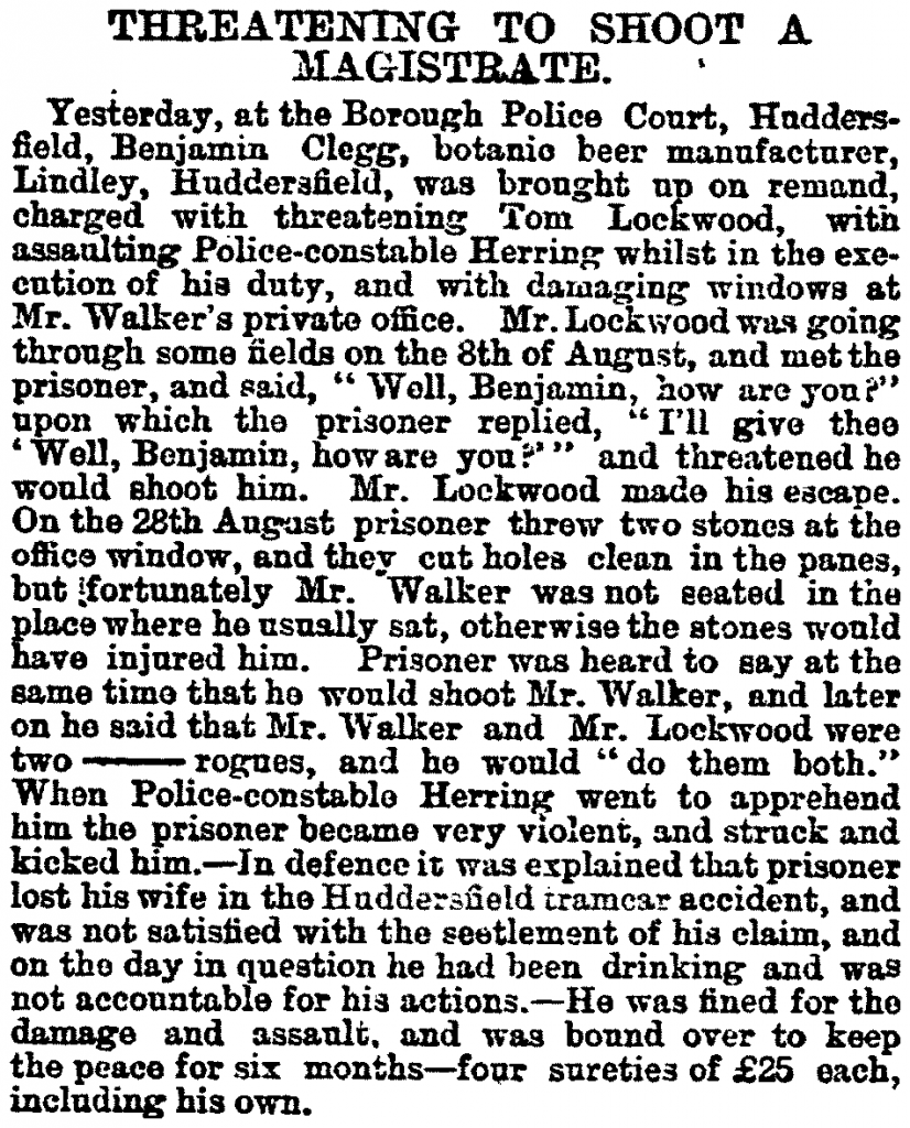 1886.09.07 Threatening to Shoot a Magistrate - Sheffield & Rotherham Independent