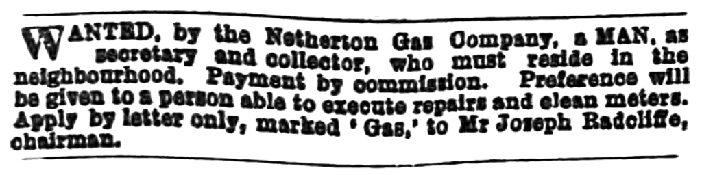 advertisement from the Huddersfield Chronicle (19/Nov/1887)