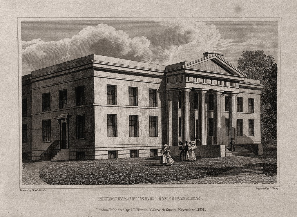 line engraving of Huddersfield Infirmary by J. Shury (1831)