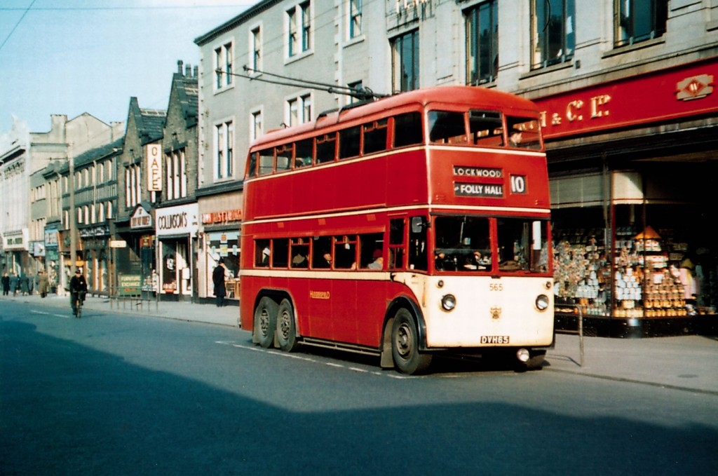 a trolleybus outside Woolworths, New Street (1955)